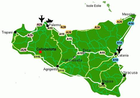 Cartina Strade Sicilia.Caltabellotta On Web Come Arrivare A Caltabellotta